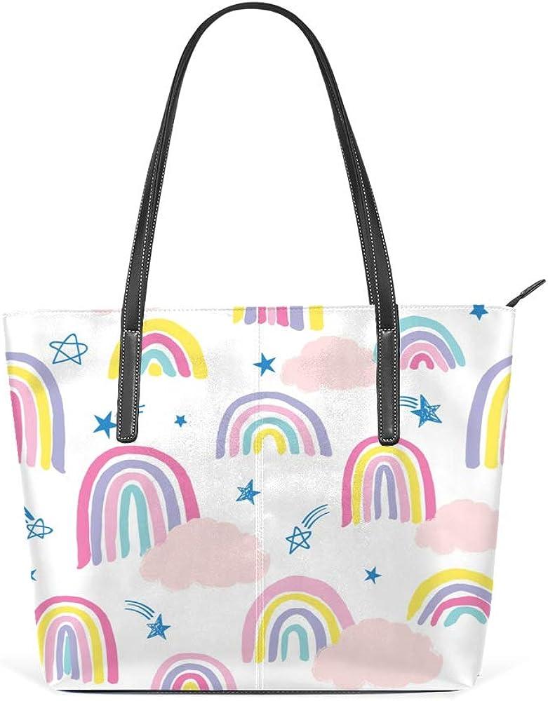 Shoulder Bag for Women Tote Bags Leather Shopper Bag Large Work Rainbow Decor Handbags Casual Bag