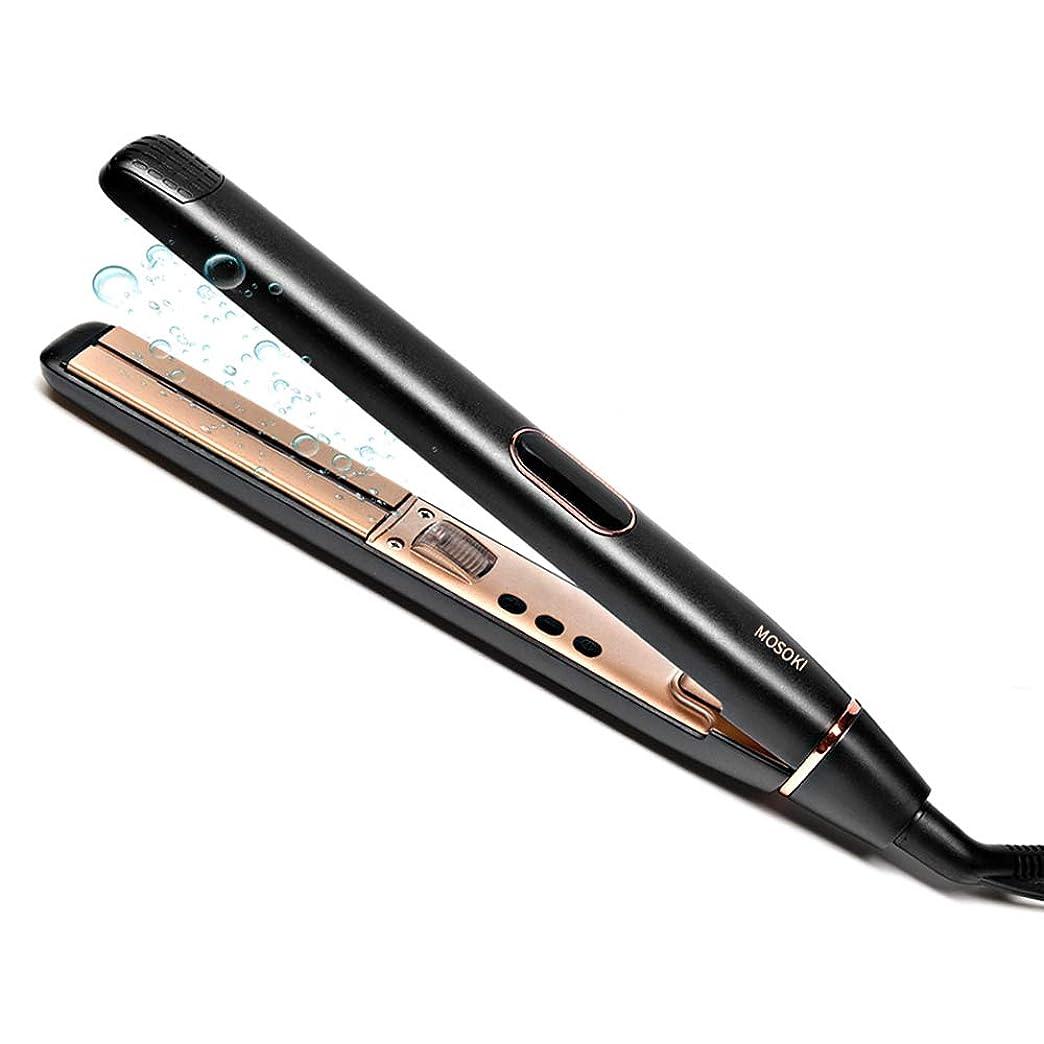 ノベルティきょうだいマーキングヘアアイロン ストレート カール 両用 ダブルマイナスイオン 100-230℃ 温度調節 LCDディスプレイ 自動OFF 海外対応 プロ仕様 (ブラック)