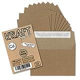 50 Stück - Vintage-Umschläge DIN C6 Kraftpapier 100 g/m² braun Recycling Brief-Umschläge Haftklebung - NEUSER PAPIER®