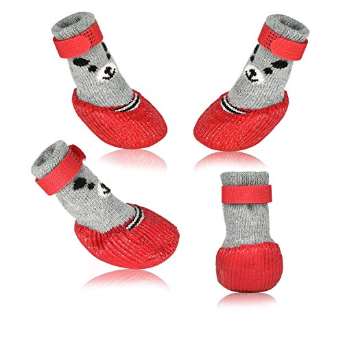 Dog Cat Boots Shoes Socks with Adjustable Waterproof Breathable and Anti-Slip Sole All Weather Protect Paws(Only for Tiny Dog) (L, Red)