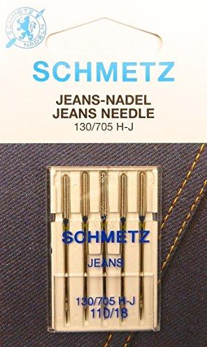 SCHMETZ 5 agujas para máquina de coser vaqueros (pistón plano) 130/705 H-J, grosor 110/18