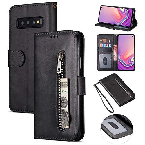 ZTOFERA Brieftasche Hülle für Samsung Galaxy S10, Reißverschluss PU Leder Magnetisch Flip Folio Kartenhalter mit Trageschlaufe Ständer Zipper Geldbörse Schutzhülle für Galaxy S10 - Schwarz