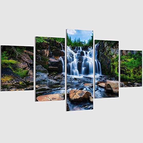 5 piezas hermosa cascada moderna pintura de pared lienzo piedra río imágenes para sala de estar decoración del hogar sin marco