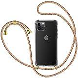 SAMCASE Funda con Cuerda para iPhone 12 Pro MAX 6.7'', Carcasa Transparente TPU Suave Silicona Case con Correa Colgante Ajustable Collar Correa de Cuello Cadena Cordón - Multicolor