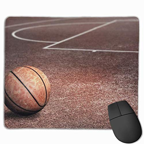Basketball-Muster rutschfeste einzigartige Designs Gaming-Mauspad Schwarzes Stoff Rechteck Mousepad Art Naturkautschuk-Mausmatte mit genähten Kanten