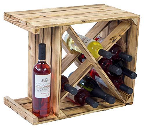 Kistenkolli Altes Land geflammtes Weinregal X Maße 50x40x27cm Regalkiste Flaschenablage Weinregal Apfelkiste/Weinkiste (1er Set Weinregal X geflammt)