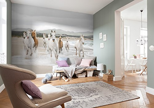 Komar Fototapete WHITE HORSES | 368 x 254 cm | Tapete, Wandgestaltung, Wandtapete, Mädchenzimmer, weiße Pferde, Pferde am Meer, Sandstrand | 8-986