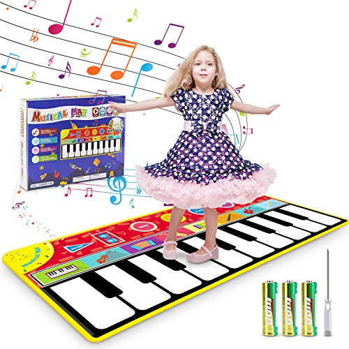"""Renfox Kids Musical Piano Mats – Dance & Learn Keyboard Play Mat with 8 Musical Instrument Sound, 5 Play Modes, Early Educational Toy Gift for 3+ Years Old Boys Girls kids Toddlers (58"""" x 24"""")"""