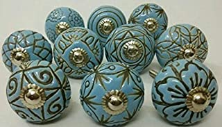JGARTS 20 Blue Vinatge Look Mixed Round Flower Shape Ceramic Pottery Door knobs Cabinet Handle Cupboard Pulls Drawer Puller knob - Blue