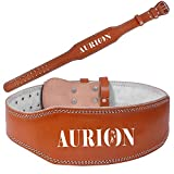Aurion Powerlift-GYMBELT - XXL Leather Back Support Weight Lifting Belt, XX-Large (Black)
