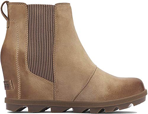 Sorel - Women's Joan of Arctic Wedge II Chelsea, Leather or Suede Ankle Boot, Ash Brown, 9 M US