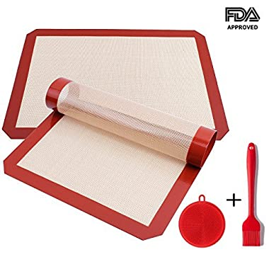 Ousum Non Stick Silicone Baking Mats Set of 4 Pack Heat Resistant 16 1/2   x 11 5/8 Professional FDA Approved Food Silicone
