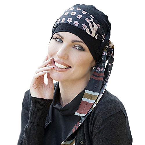 Masumi Headwear Pañuelo oncológico mujer Yanna Black (gorro + cinta)
