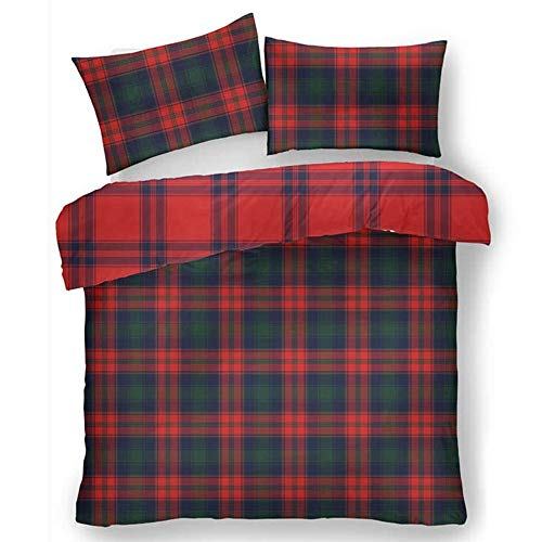 Lions Flannelette Duvet Cover Set, 100% Brushed Cotton Scottish Tartan Check Bedding with Pillowcase, Reversible Quilt, Easy Care, Navy/Red, King Size