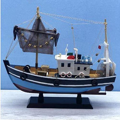 DressU Longevidad Decoraciones Velero Modelo Azul del Barco de Pesca de Madera Modelo Crafts náutico Modelo Retro Modelo de Madera del Barco de Vela del Juguete 38cm Durabilidad