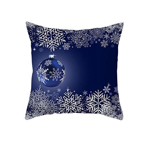my cat Fundas de almohada de ciervo azul de Navidad con patrón de alce de nieve para el hogar, sofá, silla, fundas de cojín decorativas, 45 x 45-PC12030-450 mm450 mm