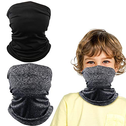 Kids Neck Gaiter, Neck Gaiters with Filter Pocket, UV Protection Face Cover Face Scarf for Kids, Non-Slip Kids Neck Gaiter for Dust Wind (2 Pcs)