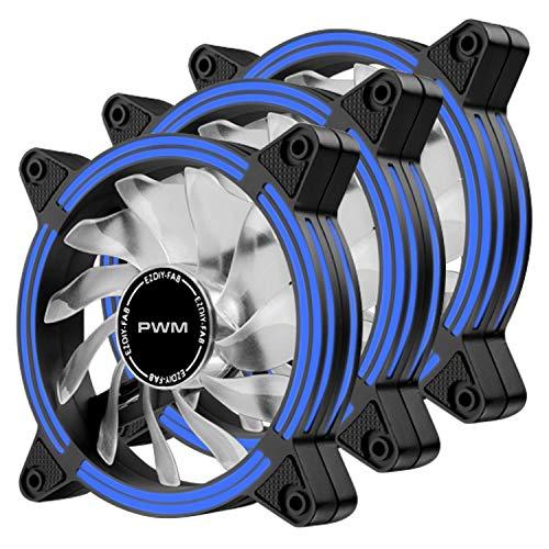 EZDIY-FAB Ventilador de Caja de LED Doble Marco silencioso PWM de 120 mm para Cajas de PC, refrigeradores de CPU y radiadores, Azul 3Pack