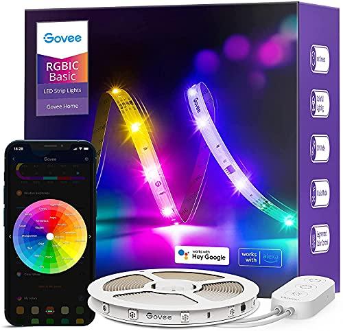 Govee RGBIC Striscia LED Smart 5m, WiFi Strisce LED con Alexa e Google Assistant, DIY Segmentato, sincronizzazione Musicale, Controllo App luci LED per Camera da Letto, Soffitto, Cucina, Giochi