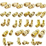 ALLiSHOP SMA Connectors kit 18 Type SMA RP-SMA Adapter Plug and Jack Straight and 90° SMA Connector Goldplated Brass RF Coax Connectivity Set for FPV Antennas Radio Baofeng Yaesu IP Camera Project