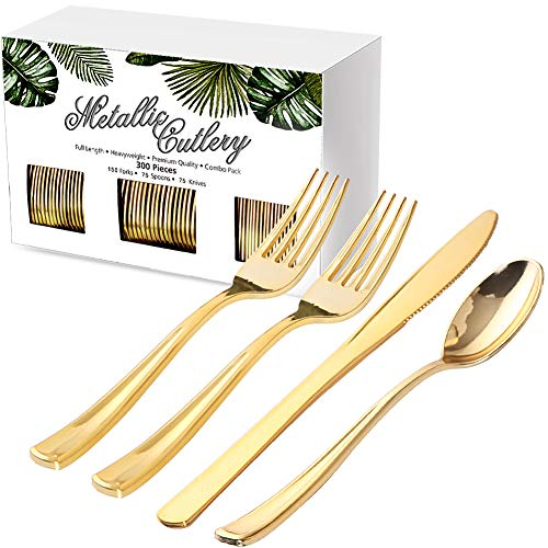Nervure 300 Piece Gold Plastic Silverware Set - Heavyweight Gold Plastic Cutlery - Disposable Gold Plastic Utensil Include 150 Forks, 75 Knives, 75 Spoons Perfect for Parties & Weddings