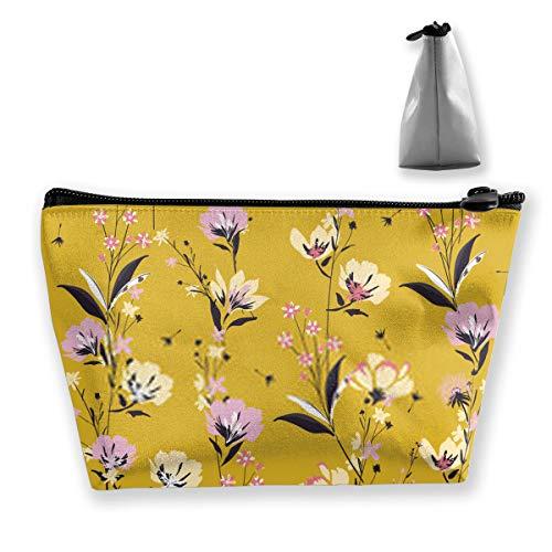 Beau motif floral dans la floraison de motifs botaniques dispersés de manière aléatoire, organiseur de pièces de monnaie, trousse de maquillage, sac de rangement de bureau