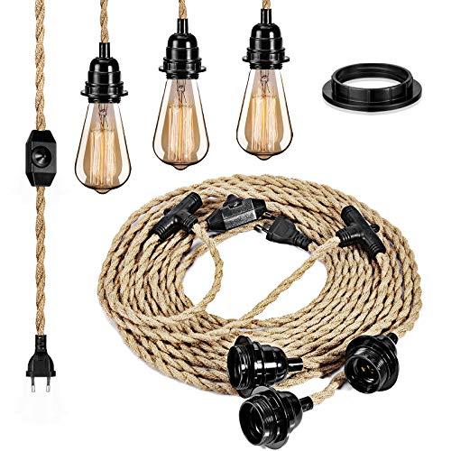 Dimmbar Switch moderne industrielle Textilkabel Kronleuchter Kit mit 6.8m langen Schnur E27 Lampenfassung DIY für Dining Hall Schlafzimmer Home Lighting Zubehör,3 Lampenfassungen ohne Glühbirne