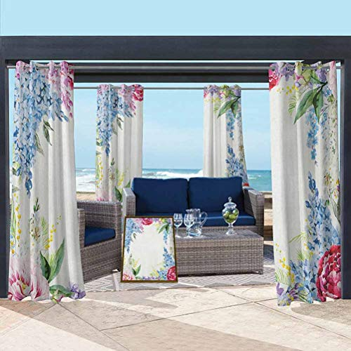 ParadiseDecor Flower Fade Resistant Drape Outdoor Heat and Full Light Blocking Drapes Springtime Fragrance Garland with Bunch of Flowers Lilac Lavender Rose Peony Artsy Print Multi 112W x 95L Inch