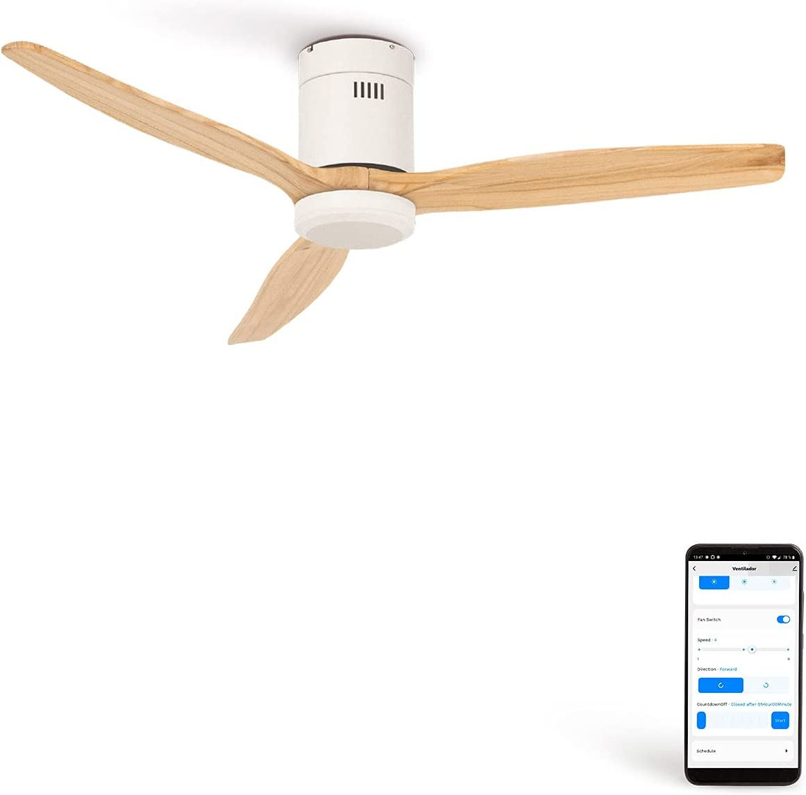 CREATE IKOHS WINDCALM DC STYLANCE - Ventilador de Techo Wifi, con Mando a Distancia, 3 Aspas, Potencia de 40W, Ultrasilencioso, 132 cm de Diametro, 6 Velocidades (Blanco y madera natural)