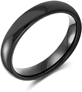 Basic Plain Simple Dome Couples Classic Black Rose Gold Plated Titanium 4MM Wedding Band Ring for Men Women Comfort Fit