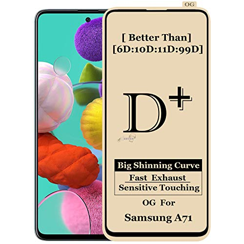 xester® [d-plus] screen protector campatible with samsung a71 [1-pack], anti-fingerprint tempered glass edge to edge full screen coverage (9h hardness, 6x stronger, installation frame, bubble free) [edge to edge]