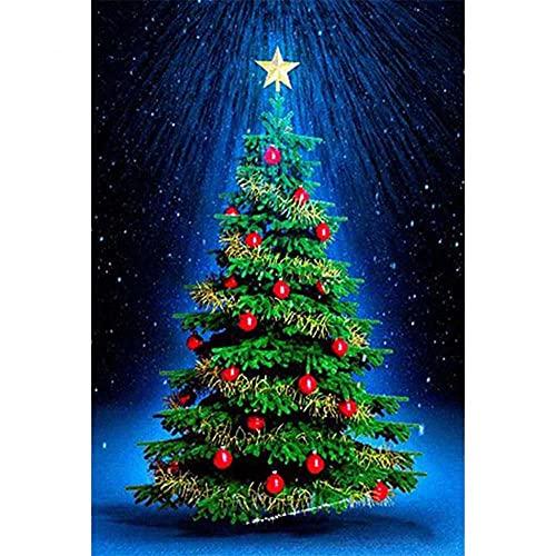 DIY 5D Diamond Painting principiantes Kit large size Árbol de Navidad 40x80cm Adultos Bricolaje Diamond Painting Rhinestone Bordado de Punto de Cruz Artes Manualidades Lienzo Pared Decoración