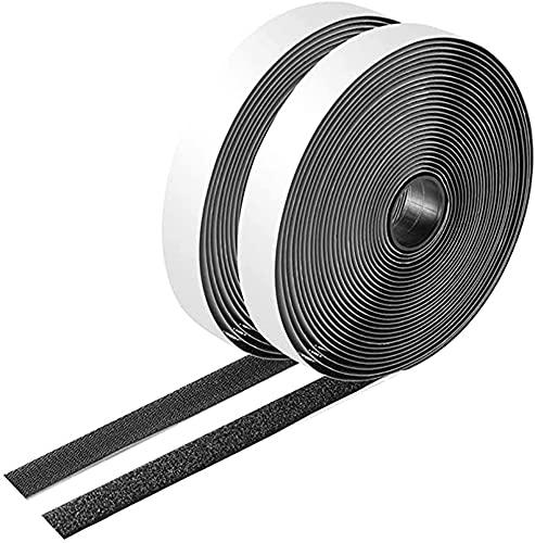 面ファスナー 粘着テープ 粘着力強い両面テープ ベルクロ付き 2cm×12m オスメスセット 耐熱 防水 ベルクロ 繰り返し利用可能 家庭用 車用 業務用 DIY用 工業用 線収納(オス+メス, 黒)