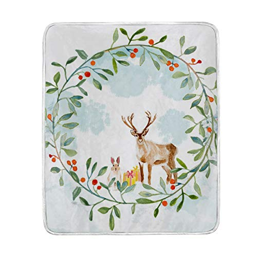 Mnsruu Super Soft Throw Blankets Christmas Deeer In The Forest Ropa de Cama Cálida y Liviana y acogedora Manta de sofá/sofá (127x152cm)