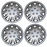 TuningPros WSC3-028AS15 4pcs Set Snap-On Type (Pop-On) 15-Inches Metallic Silver Hubcaps Wheel Cover