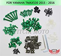 VITCIK ヤマハ Yamaha TMAX530 2015 2016 TMAX 530 15 16 オートバイ用フルフェアリングボルトネジキット ファスナー CNC アルミクリップ (グリーン)