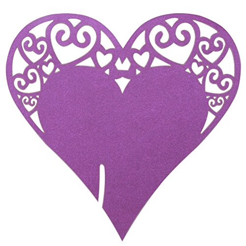 Table Escort Name Place Cards, DriewWedding Wine Glass Cup Topper Number Card Wedding Party Decoration (Pack of 100, Purple)