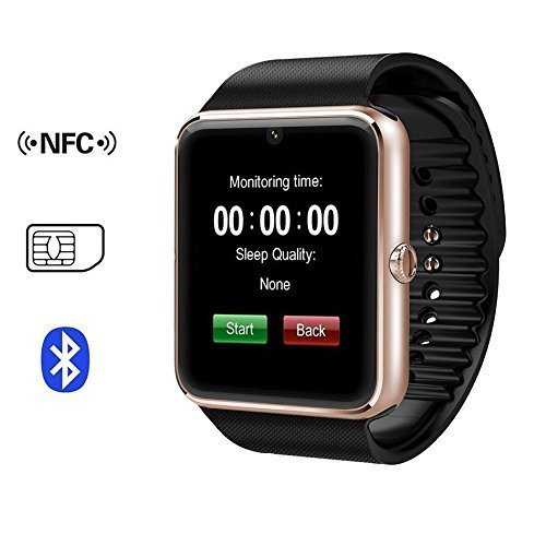 X-reega GT08 Bluetooth smartwatch met camera simkaartslot en NFC Smart-Health Watch voor Android Smartphone en iPhone (Grijs Zwarte band)