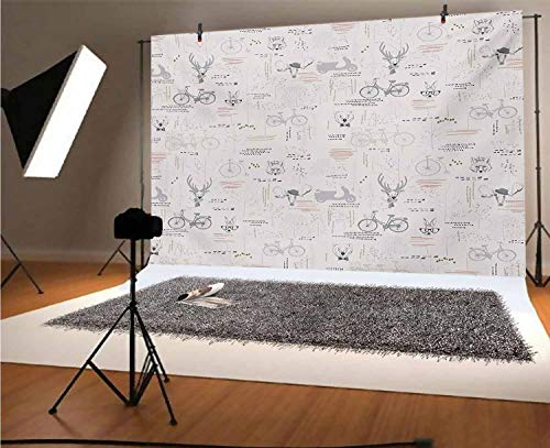 Indie 8x6 FT Vinyl Photography Backdrop,Minimalist Pattern with Trees Foliage Deer Rabbit Fox Bear Figures Background for Photo Backdrop Baby Newborn Photo Studio Props