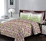 Bombay Dyeing Breeze - Cotton 120 TC - Double Bedsheet with 2 Pillow Covers -Green