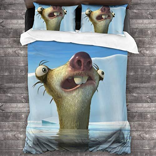 Yellowbiubiubiu Sid Sloth Ice Age Animation - Juego de cama de 3 piezas, funda de edredón, funda de almohada, con 1 edredón de 86 x 70 pulgadas + 2 fundas de almohada de 20 x 30 pulgadas