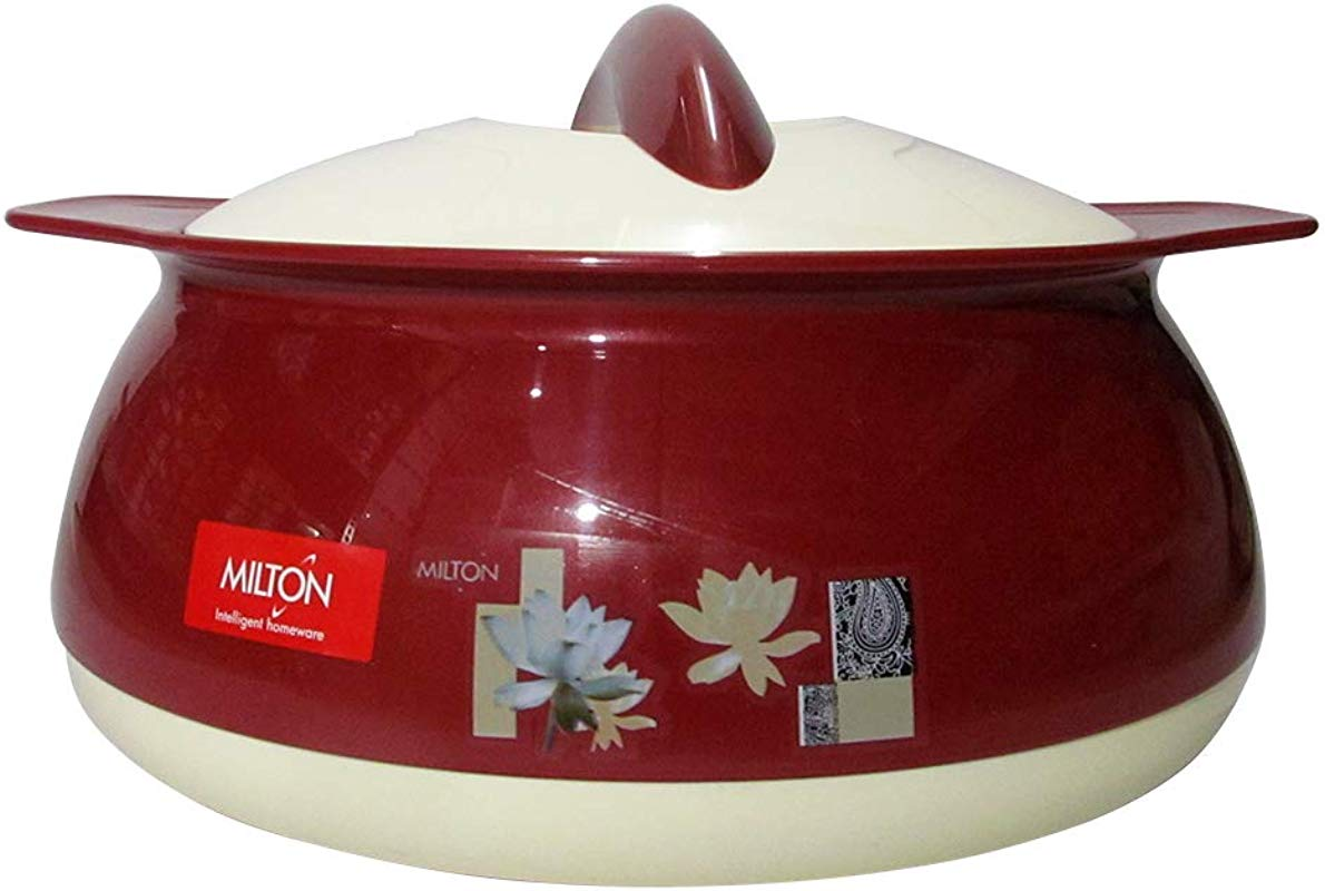Milton Delish 2500 ML Exclusive Design Hot Pot Food Warmer Insulated Casserole Brown Casserole With White Lid