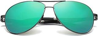 Fashion Brown/Blue/Green Men's Driving Sunglasses Color Film Wild Aluminum Magnesium Material New Sunglasses Retro (Color : Green)