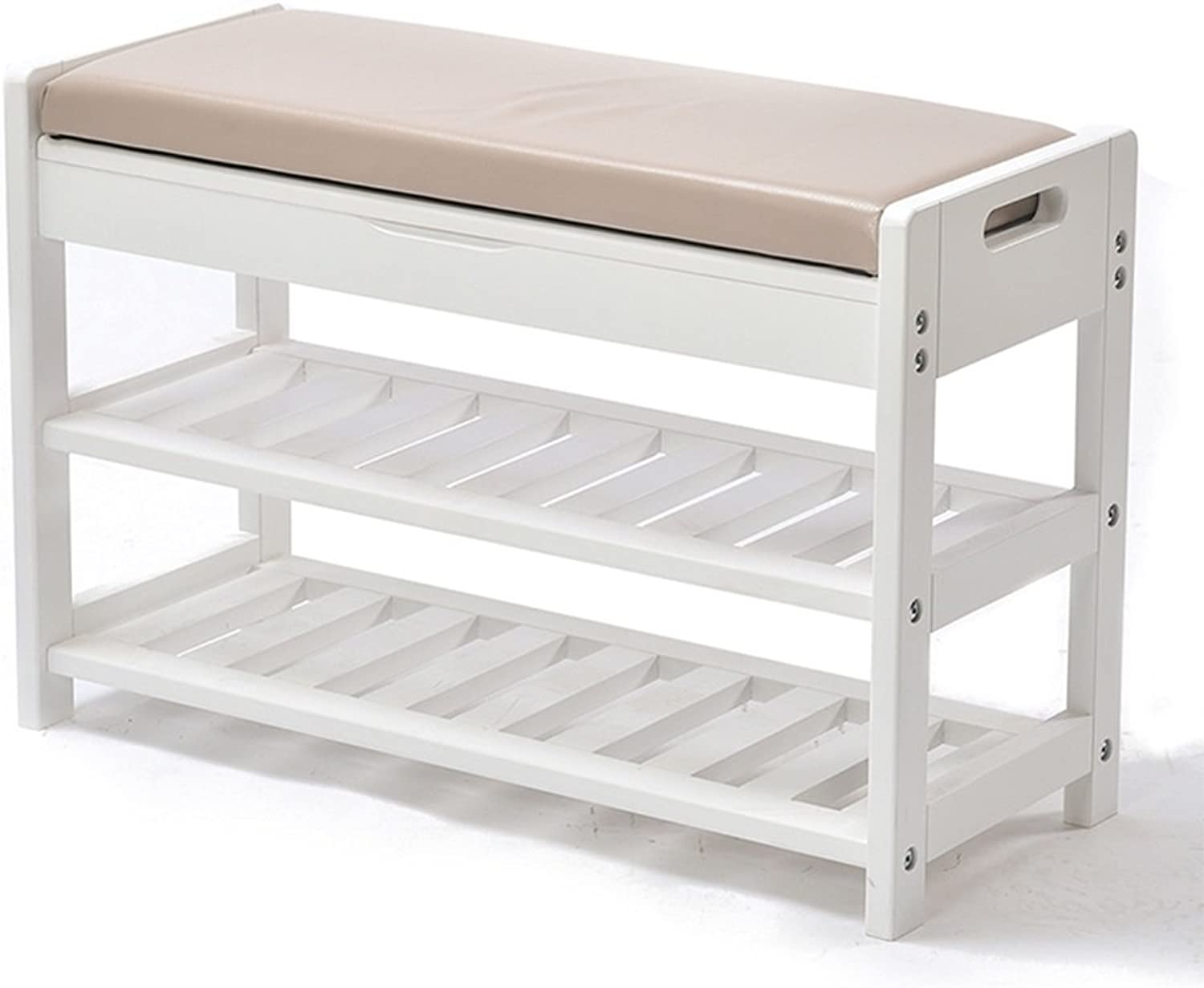 Solid white 3 layers PU cushion Double sided handle Solid wood frame Cassette design High boots Non slip design Suitable for all occasions Modern minimalist storage storage stool ( Size   743049cm )