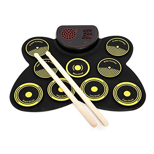 TUDOU Elektronisches Schlagzeug 9 Pads Tragbare Roll Up Midi Tabletop Drum Schlagzeug Set mit Eingebautem Lautsprecher Drum Fußpedal Drumsticks für Kinder Anfänger Schlagzeuger