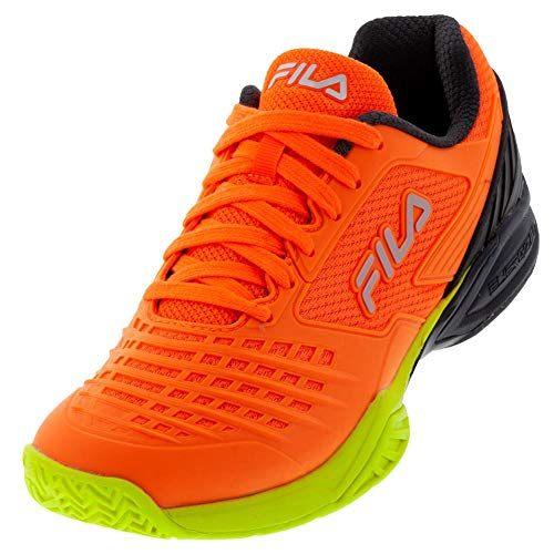 Fila Axilus 2 Energized Mens Tennis Shoe - Shocking Orange/Ebony/Safety Yellow - Size 9.5