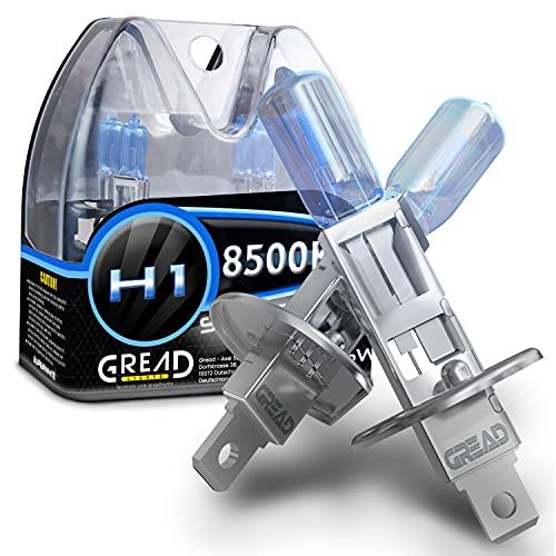 Gread - Lampe halogène H1 55W pour voitures, Apparence au xénon, 8500k super blanc, 2 pièces