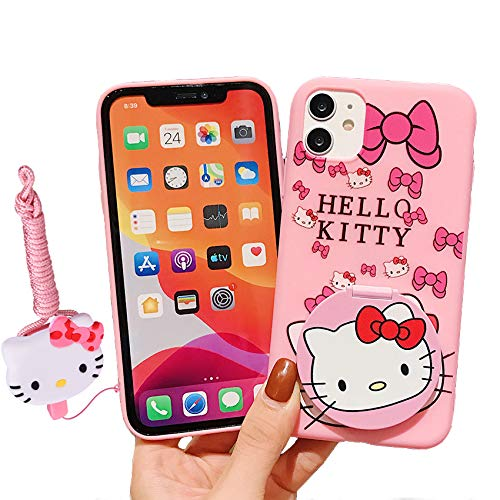 MME Mirror Case for iPhone 12 Mini - Cute Hello Kitty Makeup Case 3D Cartoon Anminal Soft TPU Cover with Stand Holder and Neck Strap Lanyard for Girl Women (Kitty - Face, 12 Mini)