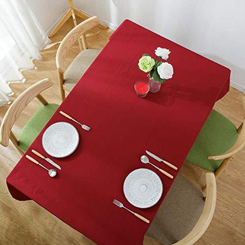 GTWOZNB Mantel de Mesa Paño de Algodón y Lino Antimanchas, Lino de Color sólido Resistente al Agua y escaldado-Vino Rojo_Los 90 * 140cm