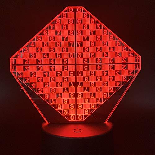 zhkn Kreative Digitaler Wecker Base Nachtlicht Schachbrett Bild 3D Led 7 Farben USB Power Nachtlicht Atmosphäre Lampe Für Heimtextilien Und Kindergeschenk